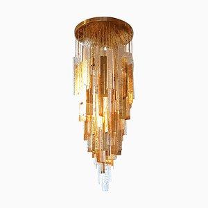 Lampadario in ottone e vetro, anni '70