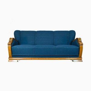 Dänisches Mid-Century Art Déco 3-Sitzer Sofa mit Gestell aus Eiche & blauem Wollbezug, 1930er