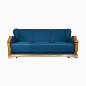 Mid-Century Art Deco Danish Blue Wool and Oak 3-Seater Sofa, 1930s