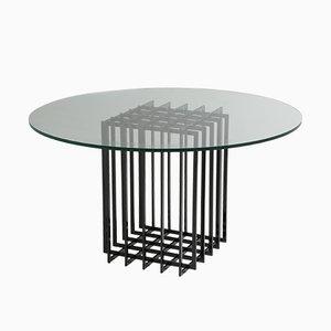 Tavolo da pranzo in vetro e metallo di Pierre Cardin, anni '70