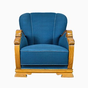 Mid-Century Art Deco Danish Blue Wool and Oak Lounge Chair, 1940s