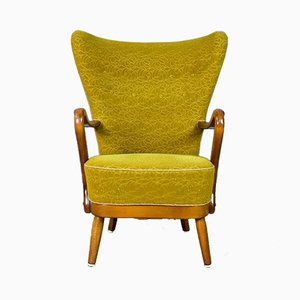 Mid-Century Art Deco Danish Mustard Yellow Lounge Chair by Alfred Christensen, 1940s