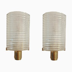 Italian Murano Glass and Brass Sconces, 1970s, Set of 2