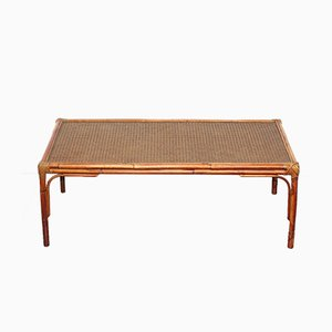 Vintage Cane and Rattan Coffee Table, 1970s
