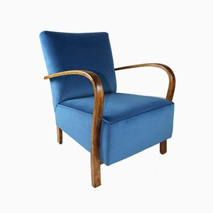 Art Deco German Blue Velvet Armchair, 1960s