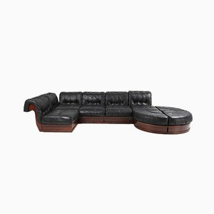 Leather & Mahogany Sofa by Luciano Frigerio, 1970s