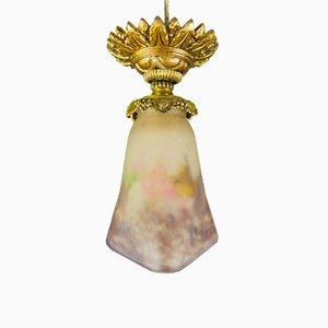 Lampada da soffitto Art Nouveau in bronzo e vetro di Muller Frères, anni '20