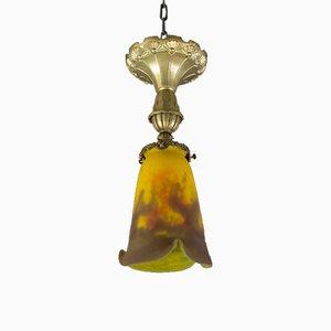 Lampada da soffitto Art Nouveau in bronzo, ottone e vetro di Muller Frères, anni '20
