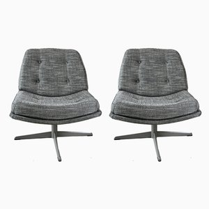 Vintage Black and White Swivel Chairs, 1970s, Set of 2