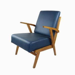 Blue Leather Lounge Chair, 1970s