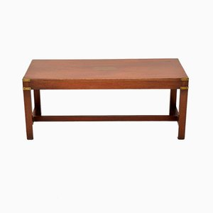 Military Mahogany and Brass Coffee Table, 1930s