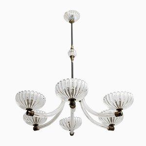 Lampada da soffitto in vetro di Murano e ottone di Ercole Barovier per Barovier & Toso, anni '40