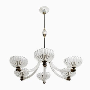 Murano and Brass Ceiling Lamp by Ercole Barovier for Barovier & Toso, 1940s