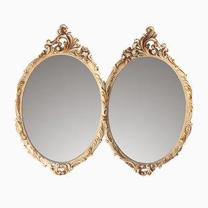 Espejo de madera blanca de Mariano García, años 60
