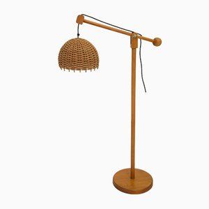 Scandinavian Rattan Floor Lamp, 1980s