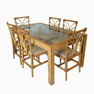 Juego de mesa de comedor y sillas de bambú de Vivai Del Sud, años 70. Juego de 7