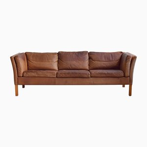 Vintage Danish Cognac Leather Sofa from Stouby, 1970s