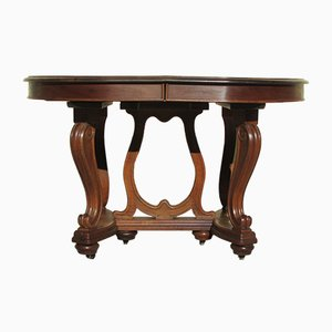 Antique Art Nouveau Walnut Dining Table, 1900s