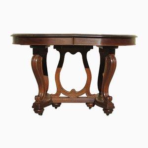 Tavolo da pranzo antico Art Nouveau in noce, inizio XX secolo