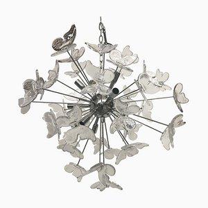 Lampadario Sputnik con farfalle in vetro di Murano di Italian Light Design