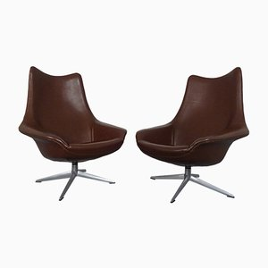 Danish Leather Pirouette Lounge Swivel Chair by H. W. Klein for Bramin, 1960s