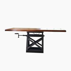 Industrieller Mid-Century Esstisch mit Gestell aus Metall