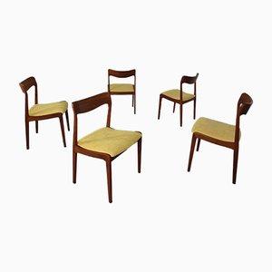 Chaises de Salle à Manger en Teck, Danemark, années 60, Set de 5