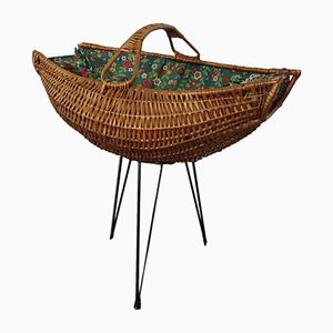 Danish Sewing Basket with Metal Legs, 1950s