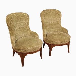 Italian Rosewood & Velvet Armchairs, 1950s, Set of 2