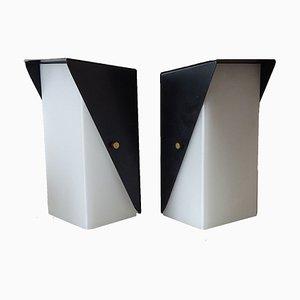 Schwarze Wandleuchten aus Metall, 1950er, 2er Set