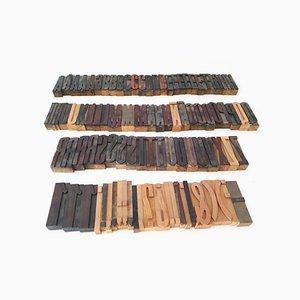 Industrielles Druckbuchstabenset aus Holz, 1960er