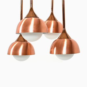 Vintage Copper & Glass Ceiling Lamp, 1970s