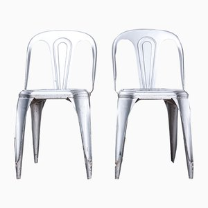 Metal Stacking Dining Chairs from Fibrocit, 1950s, Set of 2