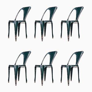 French Metal Dining Chairs by Joseph Mathieu, Pierre Benite, 1940s, Set of 6
