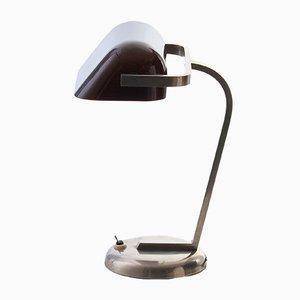 Verchromte Tischlampe mit Lampenschirm aus Glas, 1930er