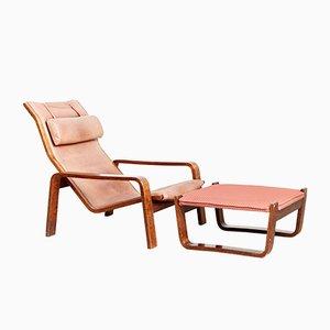 Sessel & Fußhocker von Ilmari Lappalainen für Asko, 1960er, 2er Set