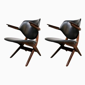 Vintage Pelican Armchairs by Louis van Teeffelen for WéBé, 1950s, Set of 2