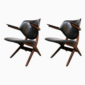 Vintage Pelican Armlehnstühle von Louis van Teeffelen für WéBé, 1950er, 2er Set