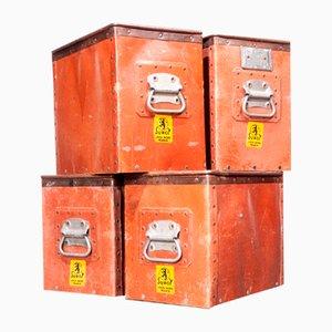 Niedrige industrielle Aufbewahrungsboxen, 1930er, 4er Set