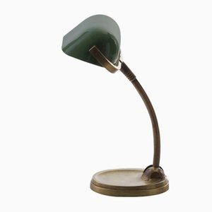 Brass & Green Enamel Table Lamp, 1920s