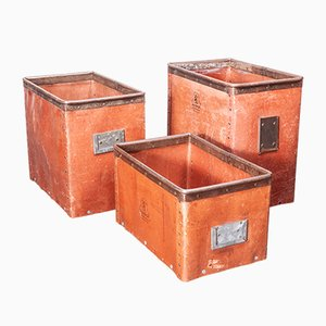 Low Industrial Storage Boxes, 1930s, Set of 3