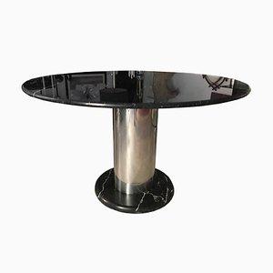 Tavolo da pranzo in metallo cromato e marmo di Ettore Sottsass per Poltronova, 1971