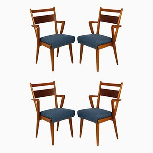 Ash & Walnut Dining Chairs from Jitona, 1950s, Set of 4