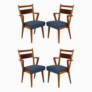 Esszimmerstühle aus Eschenholz & Nussholz von Jitona, 1950er, 4er Set