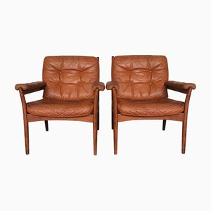 Wood & Leather Armchairs from Göte Möbler, 1960s, Set of 2