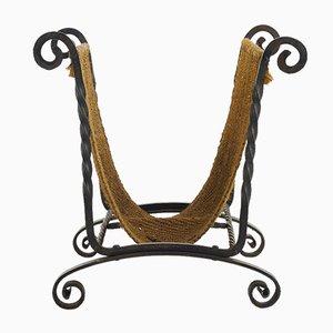 Cesta para leña española Mid-Century de hierro forjado