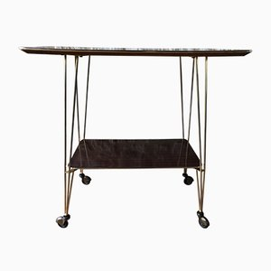 Tavolino Mid-Century in formica e ottone