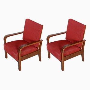 Sessel mit Gestell aus Nussholz, 1930er, 2er Set