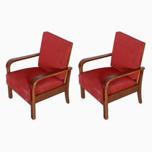 Walnut Armchairs, 1930s, Set of 2