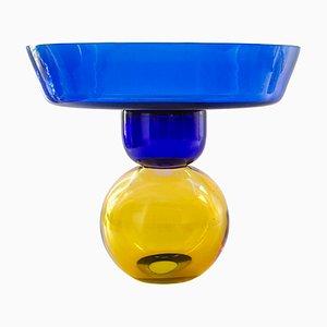 Blue Obstvase aus Kristallglas von Natalia Criado